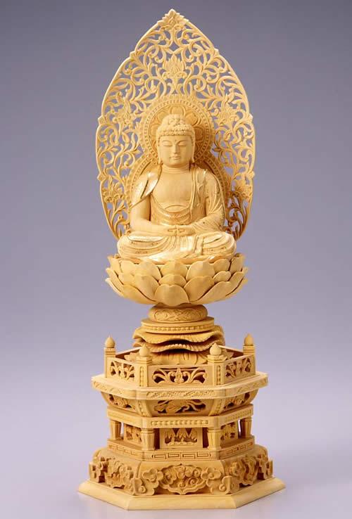 仏像 阿弥陀如来 座弥陀 2.0寸 柘植製 六角座【適合宗派:天台宗、浄土宗、時宗等】