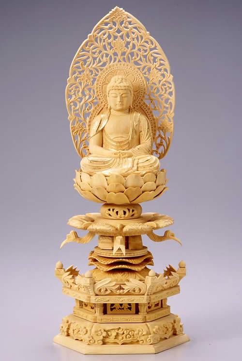 仏像 阿弥陀如来 座弥陀 3.0寸 柘植製 ケマン座【適合宗派:天台宗、浄土宗、時宗等】