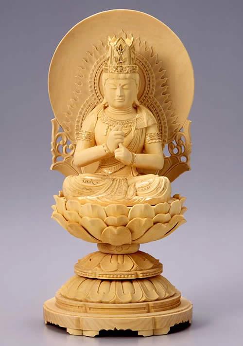 仏像 木彫 仏像 大日如来 2.0寸 柘植製 丸台座 【適合宗派:真言宗】