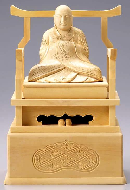 仏像 興教大師 2.5寸 柘植製 【適合宗派:真言宗】