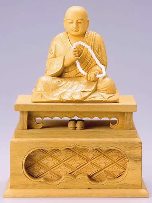 仏像 蓮如上人 3.0寸 樟製 【適合宗派:浄土真宗】