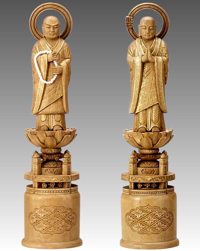 仏像 両大師(法然上人/善導大師) 3.5寸 樟製 【適合宗派:浄土宗】