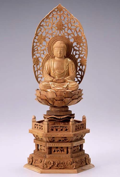 仏像 釈迦如来 座釈迦 2.5寸 白檀製 六角座【適合宗派:臨済宗、曹洞宗、天台宗、日蓮宗等】