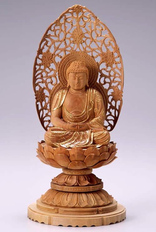 仏像 阿弥陀如来 座弥陀 2.5寸 白檀製 丸台座【適合宗派:天台宗、浄土宗、時宗等】