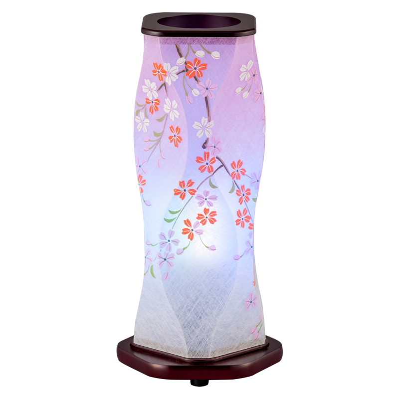 現代に調和した新しい形の盆提灯です 和にも洋にも自然に空間にとけ込み やすらぎに満ちたあたたかい光を創ります 盆提灯 期間限定の激安セール インテリア提灯 桜 花梨1号 評判 和風行灯 レインボーLED