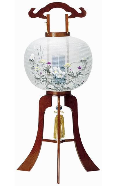 盆提灯|木製回転行灯 廻転ケヤキ調11号絹張