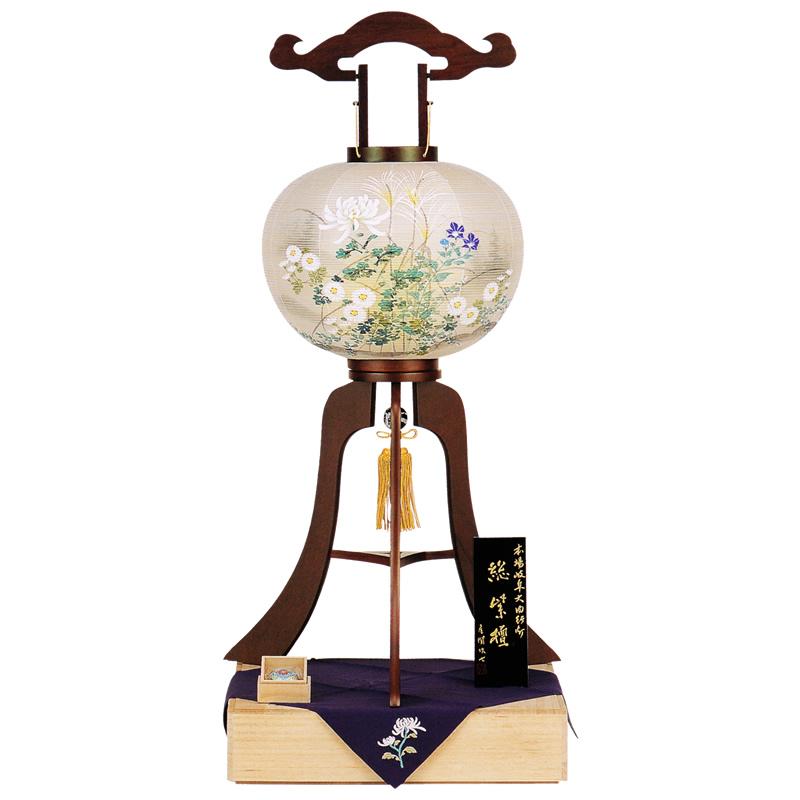 本体天然木総紫檀で外絹張り二重火袋手描きの高級大内行灯です 日本最大級の品揃え 盆提灯 大内行灯 大輪菊 マーケット 総紫檀13号絹二重張