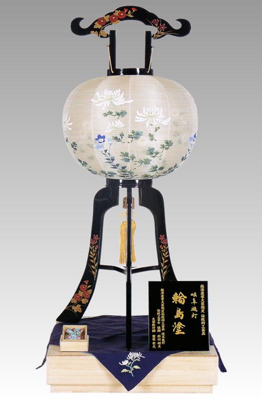盆提灯|大内行灯 輪島塗本金蒔絵13号絹二重張「大輪菊」