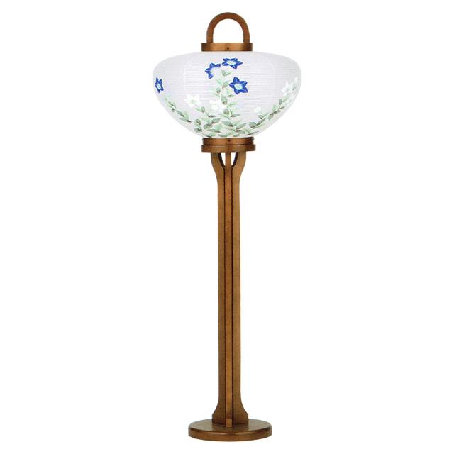 女流絵師による手描絵柄の現代行灯です 洋間に最適です 盆提灯 高価値 高級品 桔梗 現代行灯 大内行灯