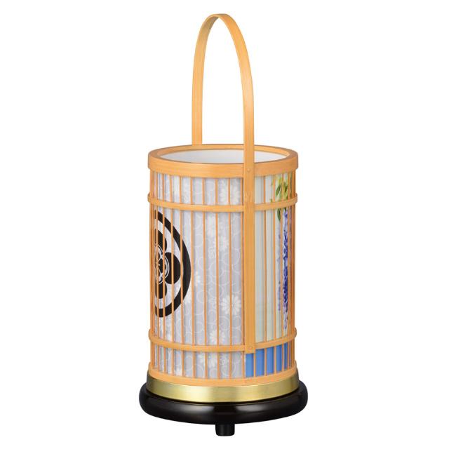 現代に調和した新しい形の盆提灯です。和にも洋にも自然に空間にとけ込み、やすらぎに満ちたあたたかい光を創ります。 盆提灯 インテリア提灯 竹彩(白木) 藤 LED電球 No.8726