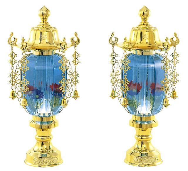 盆提灯 バブル灯 水明灯1号ゴールドブルー(一対)