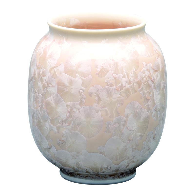 仏壇用花瓶 清水焼花瓶 【 花結晶 肩丸花生 茶 】 高さ13.7cm