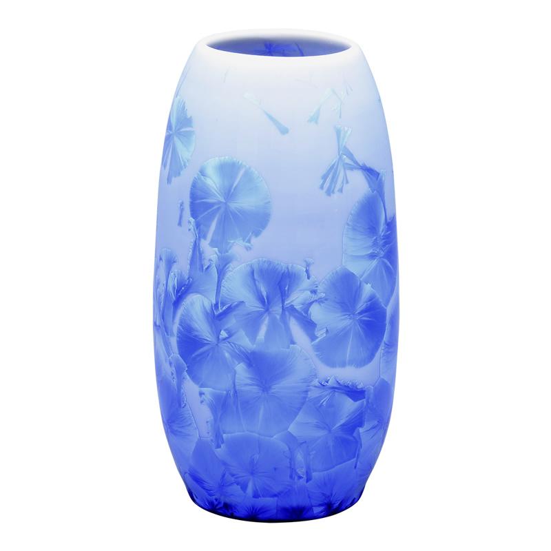 仏壇用花瓶 清水焼花瓶 【 花結晶 縦長花生 青 】 高さ15.8cm