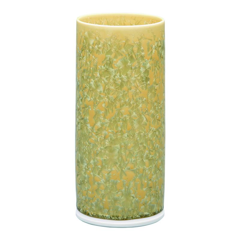 仏壇用花瓶 清水焼花瓶 【 花結晶 切立型花生 黄 】 高さ21.2cm