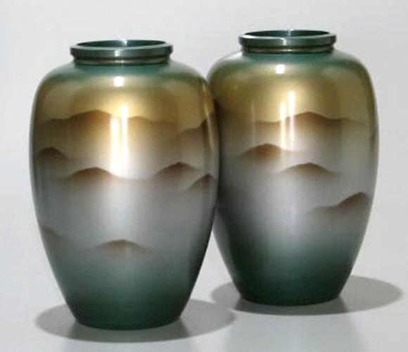 太夏目型立山連峰8号(一対) 仏壇用花瓶|アルミ製花瓶 仏壇 花瓶