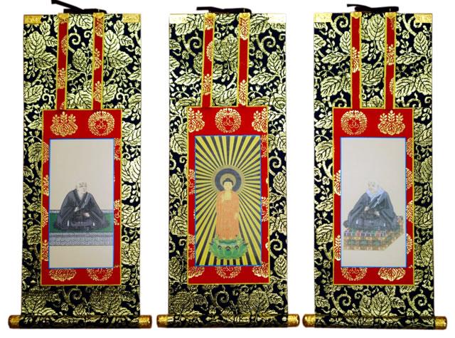 浄土真宗本願寺派(お西)の紋が入った仏壇用の高級掛け軸です。 仏壇用掛軸 浄土真宗本願寺派 豆代 総紋上仕立て