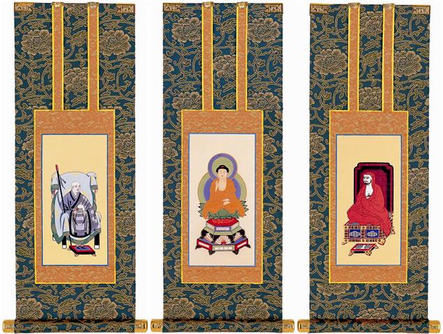あらゆる仏壇に最適な色調の仏壇用掛け軸です 超特価 有名な 仏壇用掛軸 臨済宗 100代