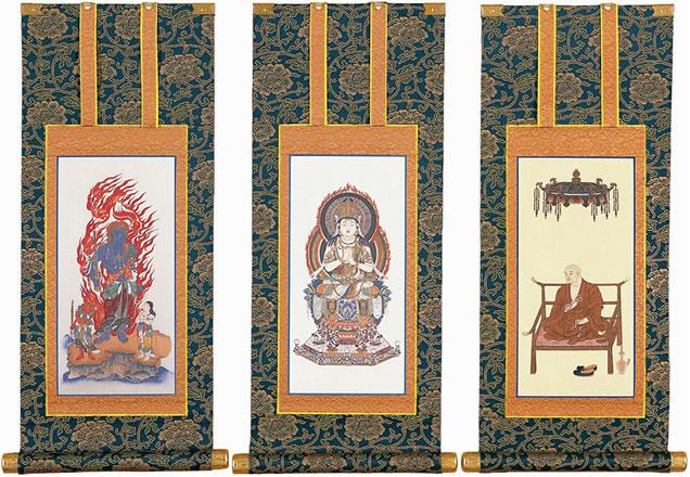 送料込 あらゆる仏壇に最適な色調の仏壇用掛け軸です 仏壇用掛軸 全店販売中 100代 真言宗