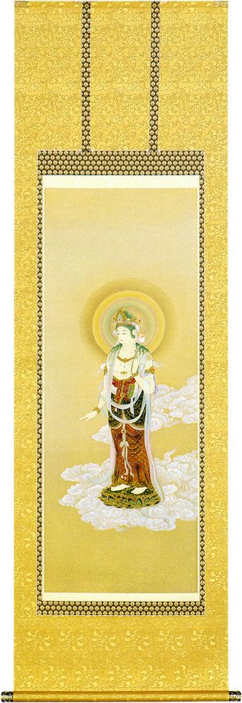 慈愛の眼差しで衆生の悩みを救う聖観音を描いた仏画掛軸です。仏事全般はもちろん日常掛にもご使用できます。太巻二重箱入り 仏間用掛軸|仏画掛軸 聖観音