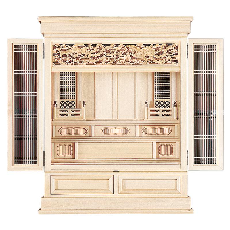 本体 神殿ともに木曽ひのきを使用した最高級祖霊舎です 浄明23号 安売り 祖霊舎 舗