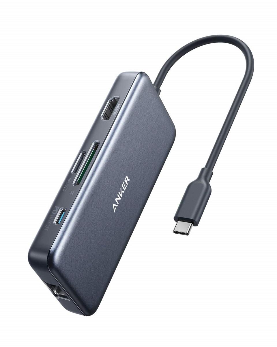 USB-Cハブ USB-C Anker ハブ 7-in-1  Anker PowerExpand+ 7-in-1 USB-C PD イーサネット ハブ4K対応HDMI出力ポート 60W出力 Power Delivery 対応USB-Cポート 1Gbps イーサネット 2つの USB-A ポート microSD  SDカード スロット搭載 MacBook Pro 2017  2018 ChromeBook 他対応