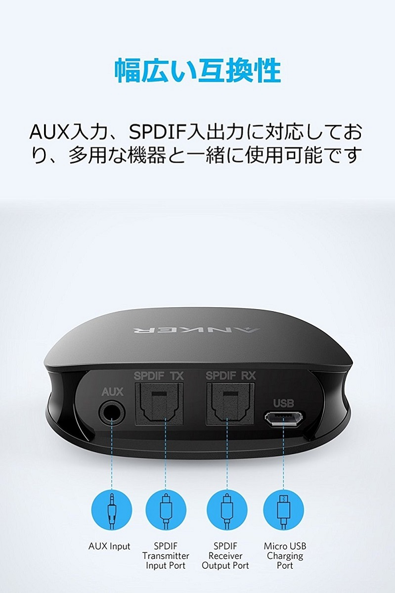 Anker Soundsync Bluetooth receiver Bluetooth5.0 receiver 12 hours 4.. fromJAPAN