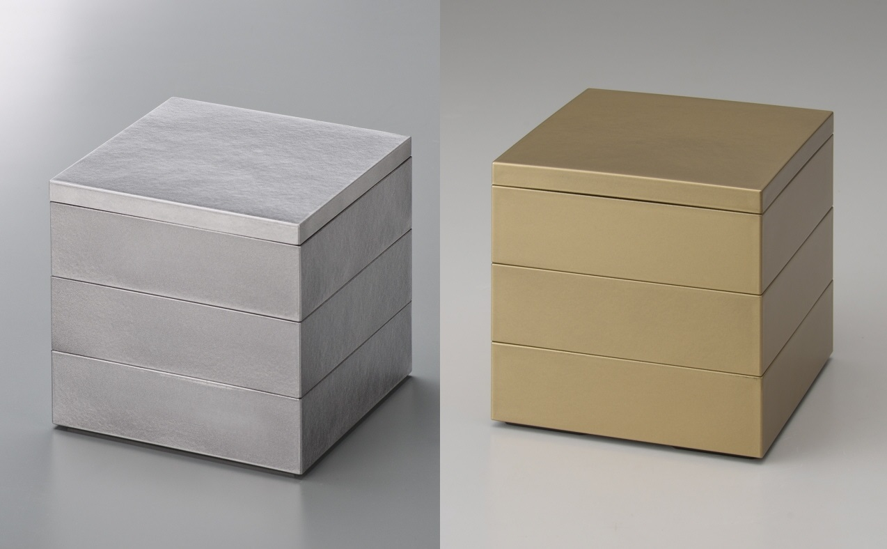 Kaze-ya 新作 メーカー再生品 Style三段重4.0 シルバー ゴールド ゴールド重箱 お一人お節 クリスマス 消費税込 正月 おしゃれ