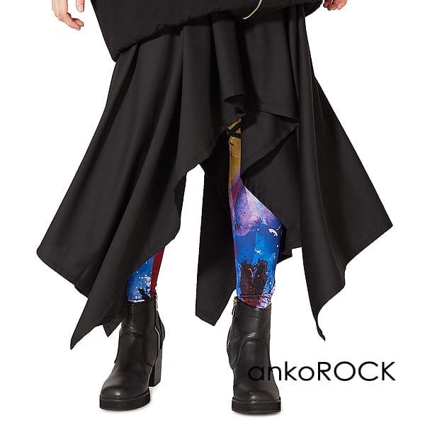 原宿系 ファッション 派手 個性的 衣装 ankoROCK アンコロック スカート レディース ユニセックス メンズ 大きいサイズ 服 黒 ウエストゴム ドレープ ブランド スピード対応 全国送料無料 TR素材 スーツ生地 ブラック 品質検査済