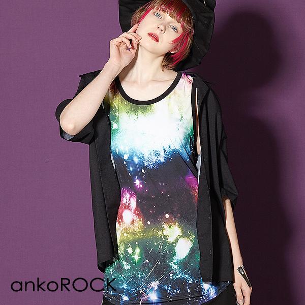 ankoROCK: ankoROCK rainbow candy galaxy long length tank top / men