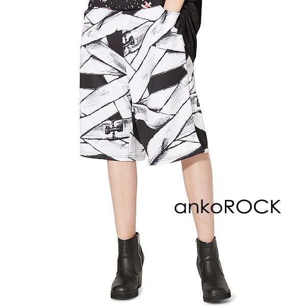 原宿系 ファッション 派手 個性的 衣装 ankoROCK アンコロック ボトムス メンズ パンツ レディース ハーフパンツ チープ 服 ショートパンツ ブランド プリント 包帯 黒 ひざ下 ビッグシルエット ついに再販開始 ブラック ユニセックス 大きいサイズ