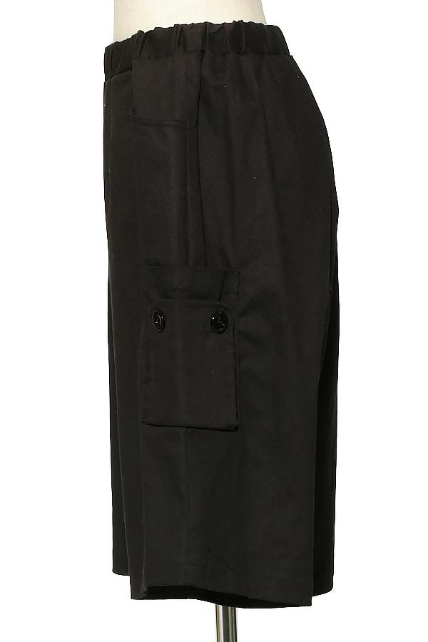 ブラック ショートパンツ ロングスカート メンズ 黒 ユニセックス ロング丈 ankoROCK オーバーサイズ レディース ワイドシルエット ハーフパンツ モード ショーツ アンコロック