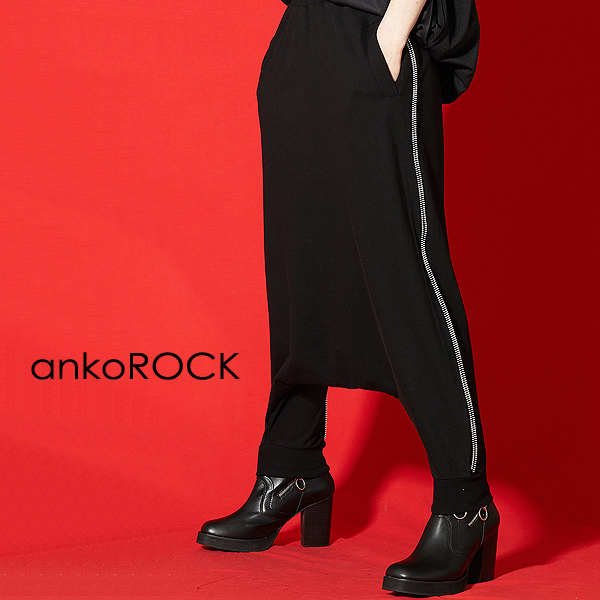 ankoROCK アンコロック サルエルパンツ メンズ パンツ レディース サルエル ユニセックス 服 ブランド ストレッチ 黒 ブラック サイドジップ
