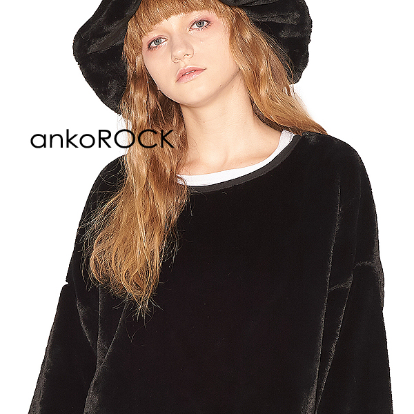 ankoROCK アンコロック 原宿系 トップス セーター メンズ レディース ロングスリーブ 大きいサイズ ビッグシルエット ロング丈 ショートファー ブラック 黒