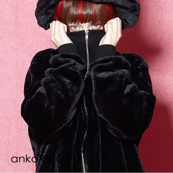 原宿系 ファッション 派手 セール 特集 個性的 衣装 ankoROCK アンコロック ジャージ メンズ ボリュームネック レディース 高い素材 ワンピース ショートファー ビッグシルエット ブランド ユニセックス ロング丈 大きいサイズ オーバーサイズ 服 黒 長袖 ブラック
