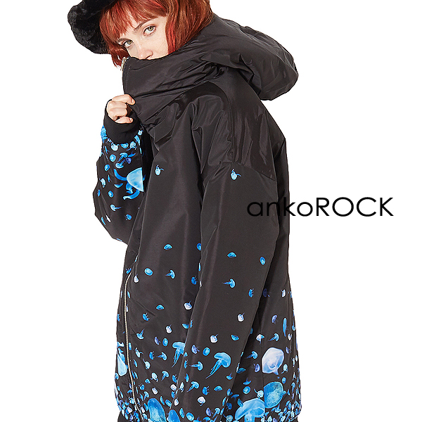 ankoROCK アンコロック 中綿 ジャケット ダウン メンズ レディース ユニセックス 服 ブランド 長袖 ロング丈 大きいサイズ ビッグシルエット オーバーサイズ 黒 ブラック プリント バラバラ クラゲ