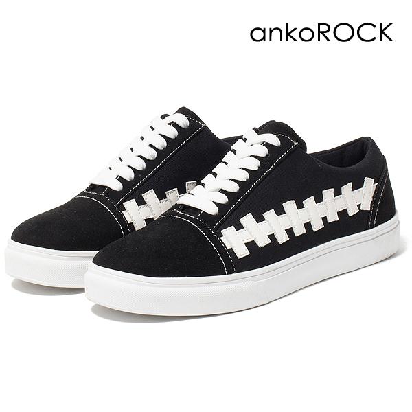 ankoROCK アンコロック スニーカー シューズ 靴 くつ メンズ レディース オールシーズン ローカット 白 黒 ホワイト ブラック 全2種