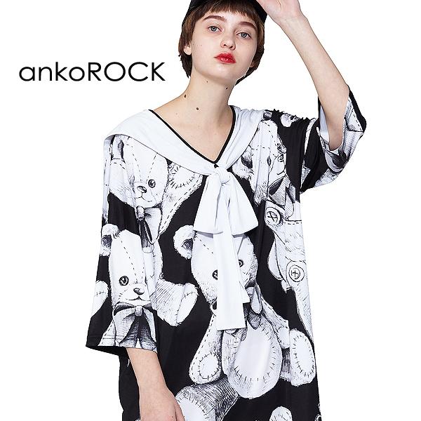 ankoROCK アンコロック Tシャツ シャツ トップス カットソー ワンピース メンズ レディース ユニセックス 服 ブランド 半袖 セーラー ストレッチ 柄 テディベア 大きいサイズ ビッグシルエット 黒