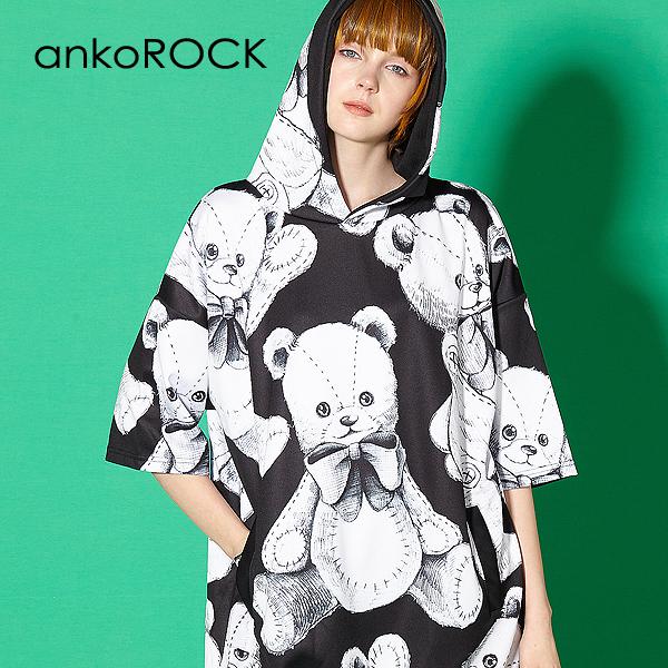 ankoROCK アンコロック ビッグ Tシャツ メンズ カットソー レディース ワンピース ユニセックス 服 ブランド 半袖 大きいサイズ ビッグシルエット モノクロ 黒 ブラック プリント テディベア 総柄