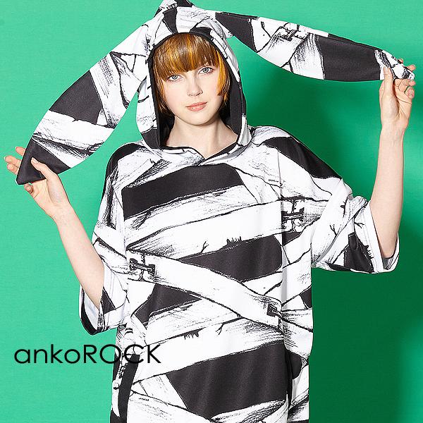 ankoROCK アンコロック メンズ うさ耳 パーカー レディース プルオーバー ユニセックス 服 ブランド 半袖 大きいサイズ ビッグシルエット 黒 ブラック プリント 包帯