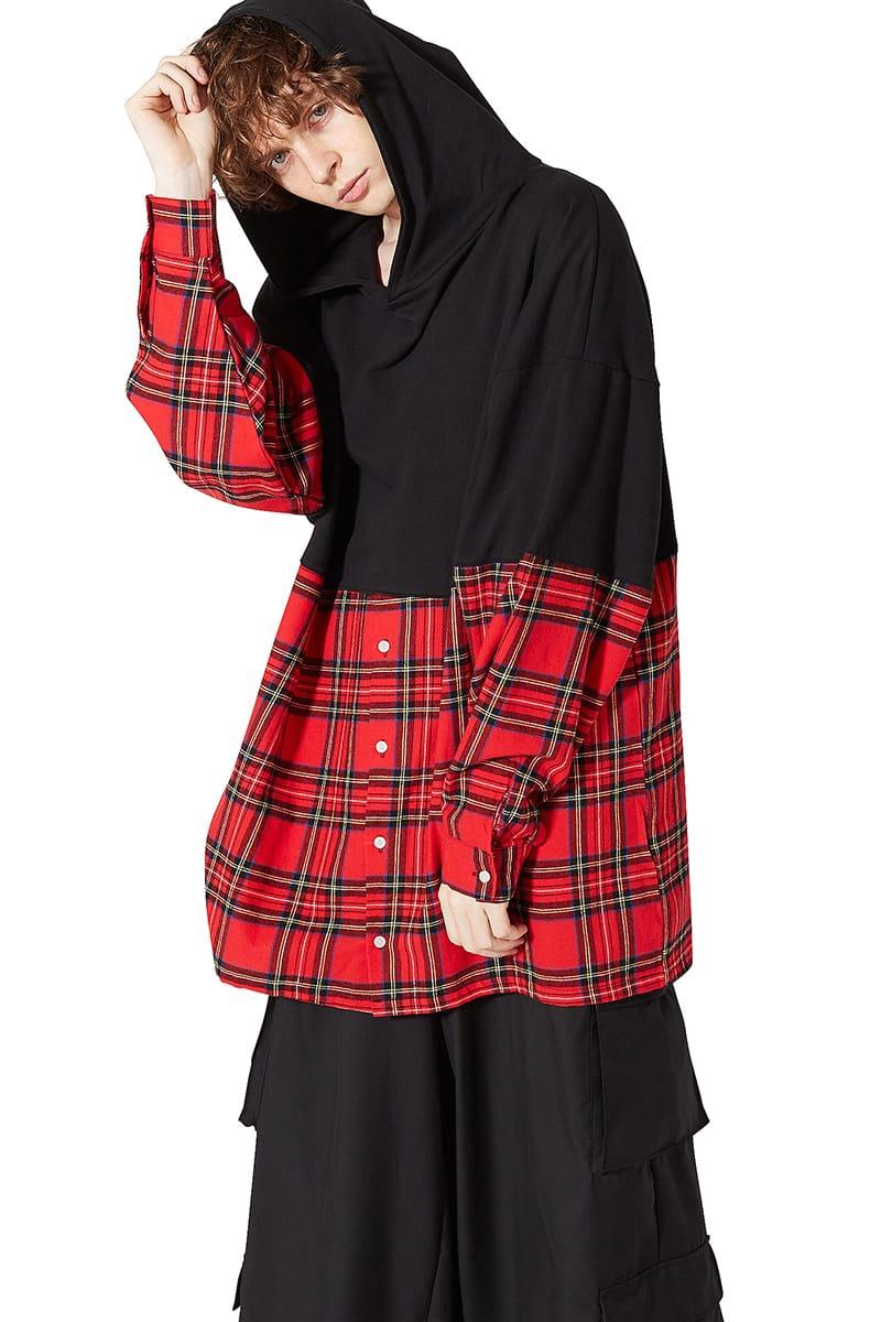 赤 パーカー チェック レッド ユニセックス ankoROCK スウェット メンズ ワイドシルエット 黒 プルオーバーパーカー ビッグシルエット シャツ BIG アンコロック ブラック レディース