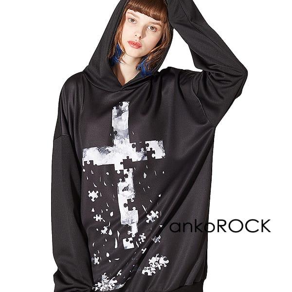 ankoROCK アンコロック パーカー メンズ レディース ワンピース ユニセックス プルオーバー 服 ブランド 長袖 ロング丈 大きいサイズ ビッグシルエット オーバーサイズ 黒 ブラック プリント 退廃 クロス 十字架