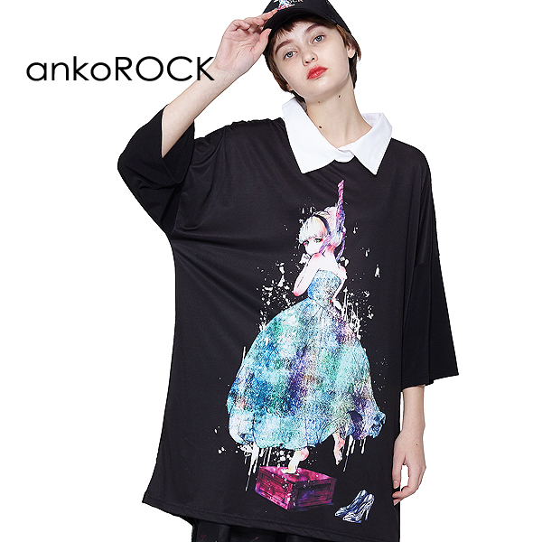ankoROCK アンコロック Tシャツ シャツ トップス カットソー ワンピース メンズ レディース 春 夏 夏服 半袖 襟付き ストレッチ かわいい シンデレラ 大きいサイズ ビッグシルエット