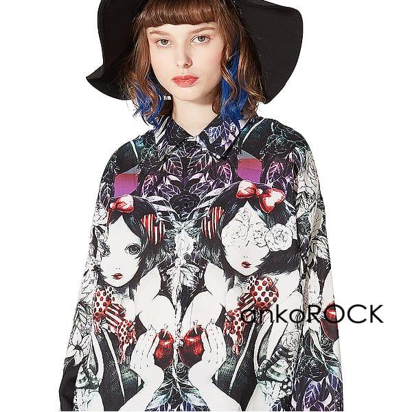 ankoROCK アンコロック シャツ メンズ カラーシャツ レディース トップス ユニセックス 服 ブランド 長袖 ロング丈 大きいサイズ ビッグシルエット オーバーサイズ 黒 ブラック プリント 白雪姫