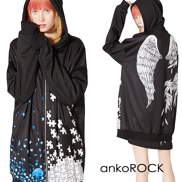 Autumn clothes winter clothes long sleeves big size big silhouette handle  colorful jellyfish puzzle wing of ankoROCK bean jam lock parka zip up parka