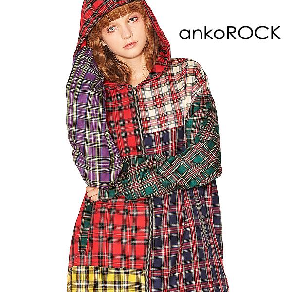 ankoROCK アンコロック 原宿系 トップス パーカー メンズ レディース ジップアップ 大きいサイズ ビッグシルエット ロング丈 セットアップ タータンチェック カラフル