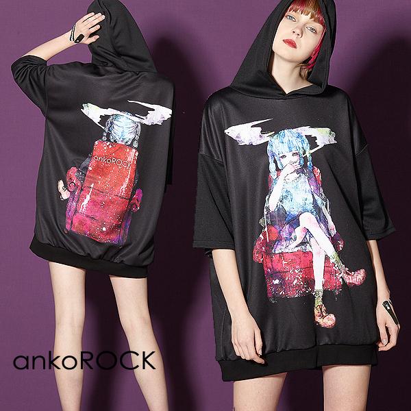 ankoROCK アンコロック ビッグ Tシャツ メンズ カットソー レディース ワンピース ユニセックス 服 ブランド 半袖 大きいサイズ ビッグシルエット 黒 ブラック 女の子 ガール タバコ 煙草