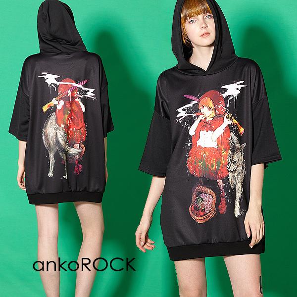 ankoROCK アンコロック ビッグ Tシャツ メンズ カットソー レディース ワンピース ユニセックス 服 ブランド 半袖 大きいサイズ ビッグシルエット 黒 ブラック プリント 女の子 ガール 赤ずきん