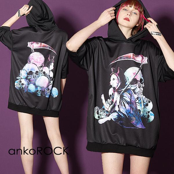 ankoROCK アンコロック ビッグ Tシャツ メンズ カットソー レディース ワンピース ユニセックス 服 ブランド 半袖 大きいサイズ ビッグシルエット 黒 ブラック プリント ハロウィン ホラー 死神 猫 ネコ