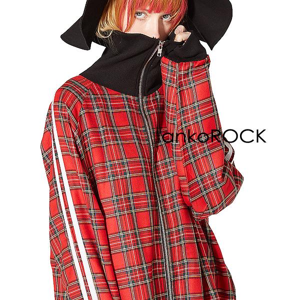 ankoROCK アンコロック ジャージ メンズ ボリュームネック レディース ワンピース ユニセックス 服 ブランド 長袖 ロング丈 大きいサイズ ビッグシルエット オーバーサイズ 赤 レッド タータン チェック 柄 ライン