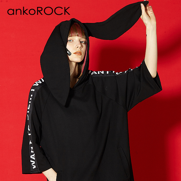 ankoROCK アンコロック メンズ うさ耳 パーカー レディース プルオーバー ユニセックス 服 ブランド 半袖 大きいサイズ ビッグシルエット ロゴ 黒 ブラック